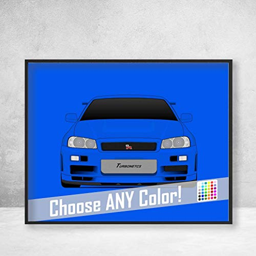 Nissan Skyline R34 GT-R from the Fast and the Furious Brian O'Connor (Paul Walker) Fast and Furious Art Poster Print Wall Art Decor Handmade Godzilla Nismo V-Spec (Fast And Furious Nissan Skyline Gtr R34 Specs)