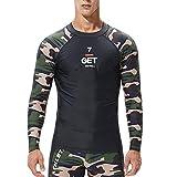 XOWRTE Men's Fashion Coloured Alphabet Sea Surfing Suit Quick Dry Tights Tops Blouse