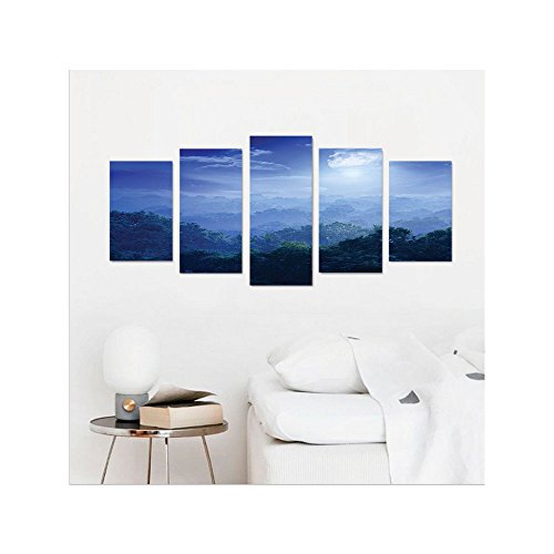 Liguo88 Custom canvas Fantasy House Decor Moonlight Covers Jungles of Sri Lanka Hazy Rainforest Scenery Overhead View Wall Hanging for Bedroom Living Room Green and Blue