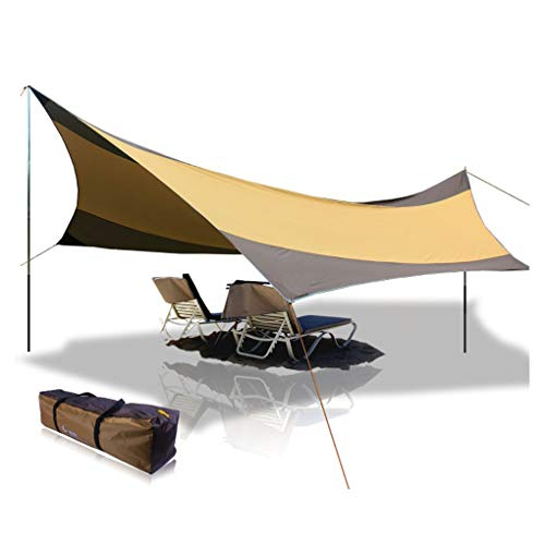 summery life Large Tent Tarp 18.04x18.37 ft 5-8 Person Lightweight Shelter Beach Tent Sun Shade Awning Canopy with Tarp Poles, Ripstop Portable Waterproof Sun-Proof for Camping Hiking Fishing Picnic