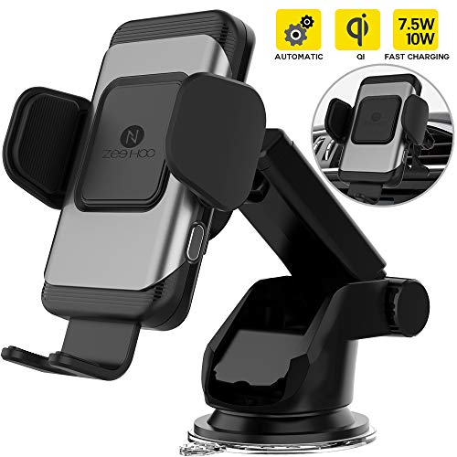 Case Car Charger Phone Holder - ZeeHoo Automatic Clamping Wireless Car Charger Mount,10W/7.5W Qi Fast Charging Car Phone Holder,Windshield Dashboard Air Vent Compatible with iPhone Xs MAX/XS/XR/X/8/8+,Samsung S10/S10+/S9/S9+/S8/S8+