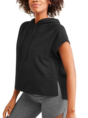 Avia Women's French Terry Short Sleeve Cropped Hoodie Top or Vest (Black, Large 12-14)