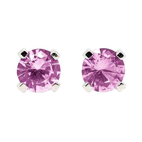Large 6mm Light Pink Tourmaline Gemstone Stud Earrings in Sterling Silver - October Birthstone