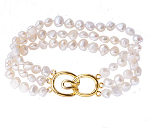 Nugget Strand Pearl (7-8mm White Baroque Nugget Three Layers Freshwater Pearl Bracelet Gold Tone Toggle 8