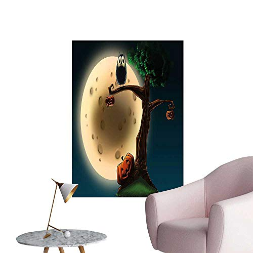 Wall Decals Cute Cartoon of Spooky Halloween Tree with Large Eyed Owl and Pumpkin Environmental Protection Vinyl,28