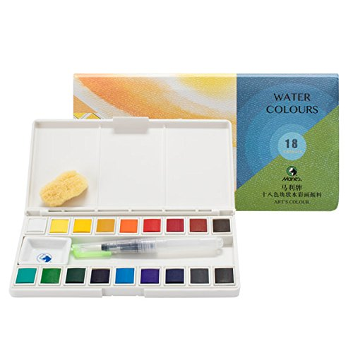 Marie's Sketch and Go Watercolor Paint Set Watercolor Pan Set For Travel Includes Palette Box With Mixing Area, Water Brush Pen, and a Natural Sponge