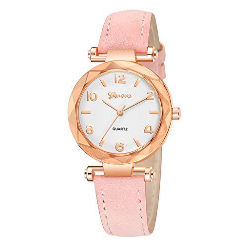 (Londony✡Women's Watches Leather Rhinestone Inlaid Quartz Jelly Wristwatch Geneva Chronograph Watch with Crystals Link)