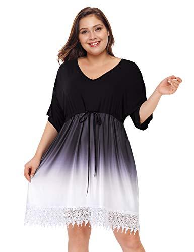AMZ PLUS Womens Plus Size Ombre V Neck Gradient Lace Hem Short Sleeve Tunic A Line Midi Dress