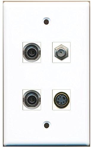 RiteAV - 1 Port Coax Cable TV- F-Type 1 Port S-Video 2 Port 3.5mm Wall Plate