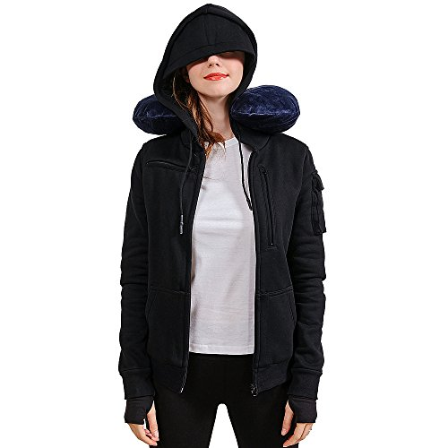 BOMBAX 10 Pocket Womens Sweatshirts Hoodies Zip Up Travel Pillow Jacket Black