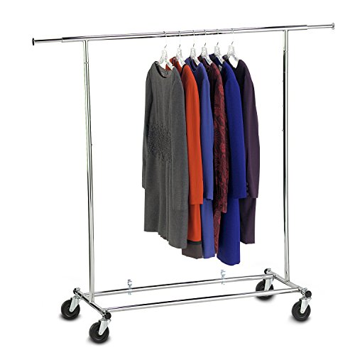 PineTree Deluxe Commercial Grade Adjustable Folding Clothing Garment Rack, Chrome by Pine Tree