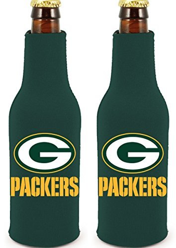 NFL Football 2014 Team Color Logo Bottle Suit Holder Cooler 2-Pack (Green Bay Packers) ()