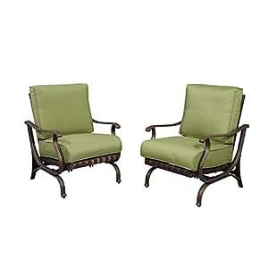 Hampton Bay pembrey Patio silla de salón con musgo cojín (lote de 2)