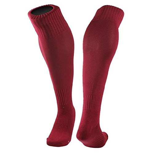 Kingfansion 1Pair Cotton Yarn And Nylon blend Stockings Football Socks Solid Color Optional (Red) (Red Fence Net Thigh Highs)