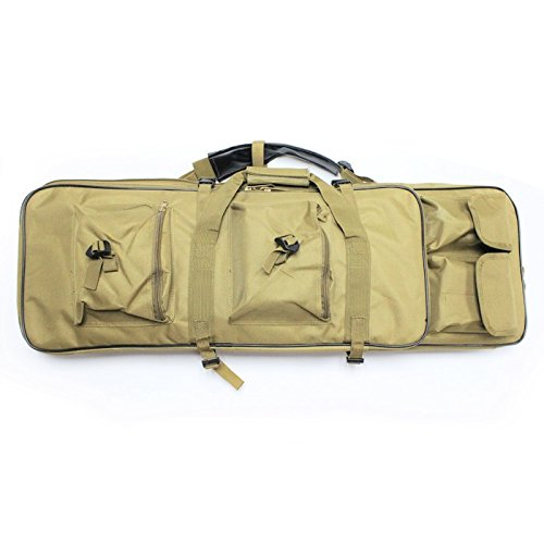 A&N Airsoft Gun Rifle Large Portable Carrying Bag Pack Storage Case Tan 85cm MOLLE w/ Accessory Pouches Compartments by A&N