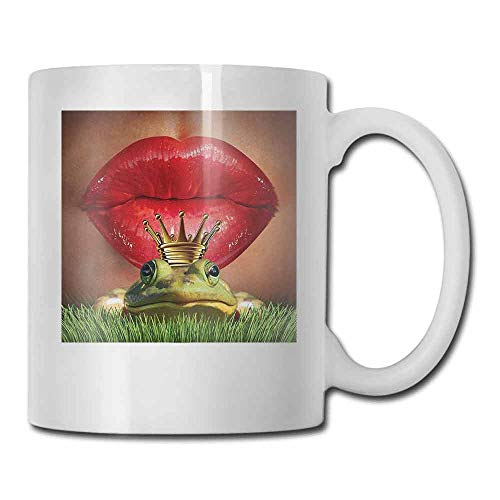 Animal Porcelain Tea Mug Lady Finds Her Frog Prince Soul Mate in Love Valentines Romance Fairy Tale Art Double-Sided Green Red Yellow 11oz ()