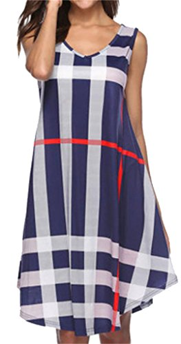 Dress Blue Womens Neck Vingtage Line Sleeveless Plaid Midi Belt With Domple V A 7CRZqwwzx