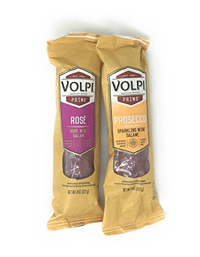 Volpi Wine Salame Duo, No Nitrates or Nitrites Added Salami, 8 ounces each (Rosé & Prosecco)