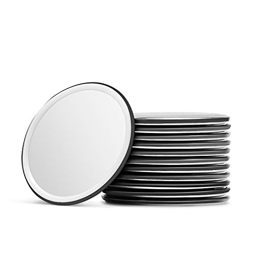 Silver Round Compact Mirror - Compact Mirror Bulk Round Makeup Glass Mirror for Purse Great Gift 2.5 Inch Pack of 12 (Black)
