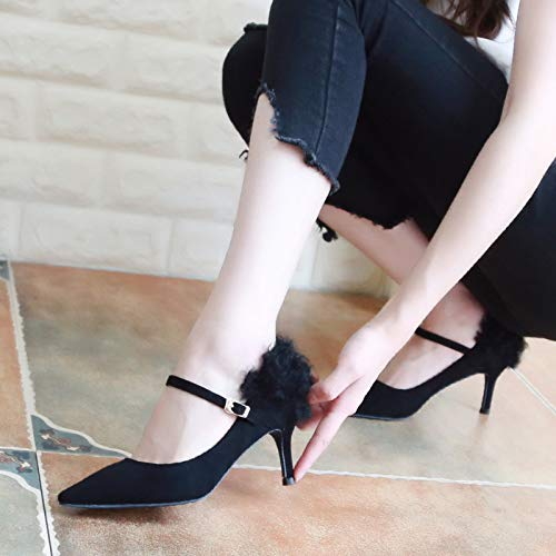 Heels Shallow Pointed 5Cm Suede Women'S Shoes Mouth Fashion Eight Thirty Autumn KPHY Blue High Shoes Single Color Stilettos CwFtfRRq