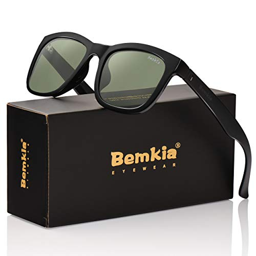 Sunglasses Adult Outdoor (Bemkia Sunglasses Polarized Men Women Outdoor UV 400 54MM (17 Glossy Frame/Grey Green Non-Mirror Lens,54))