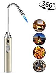 Foxfirers Butane Lighter Long Lighter Refillable Lighter Adjustable Jet Flame Torch Lighter for Grill BBQ Gas