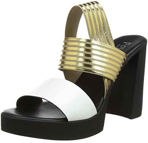 Caviglia bian Multicolore Cinturino Alla Sandali sandal Pollini el Con W 10a oro Donna U4wYO