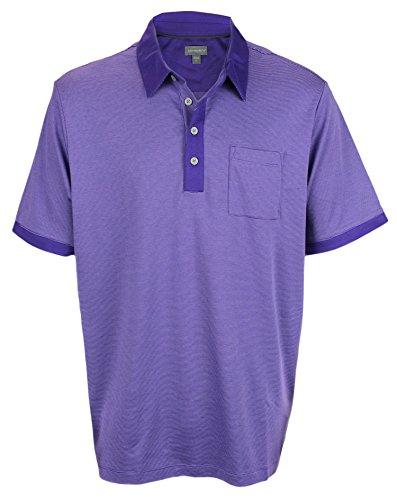 Ashworth Men's Signature Micro Stripe Cotton Pocket Golf Polo (X-Large, Blue Violet/Light Purple)