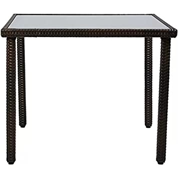 Castleton Home Wicker Frame Opaque Glass Top Dining Table U2013 Four Seater  U2013Dark Brown