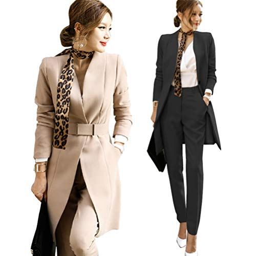 OSEMALL Women's Long Sleeve Open Front Trench Coat Work Office Blazer Jacket Black Khaki , X-Large