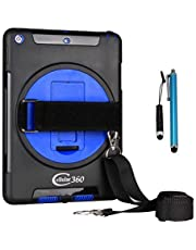 Cellular360 Shockproof Case for iPad 9.7 2018 2017, iPad 5th Gen, iPad 6th Gen with 360 Degrees Swivel Stand, Handle and Shoulder Strap (Black/Blue)