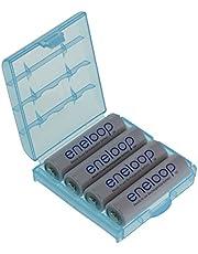 Pack de 4baterías Panasonic eneloop tipo Mignon AA, 2000mAh, BK-3MCCE (mín. 1900mAh) con una Caja para Baterías de alta calidad de Heiba Electronics