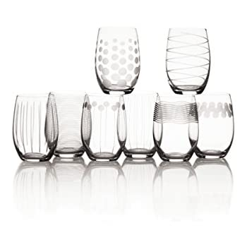 mikasa cheers stemless wine glass 17ounce set of 8