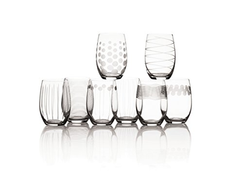 Mikasa Cheers Stemless Wine Glass, 17-Ounce, Set of 8 (Crystal Glasses Etched Wine)