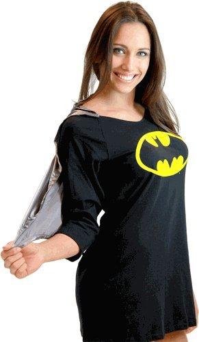 Batman Sleep Shirt Juniors Black Night Gown Pajama Dress with Cape