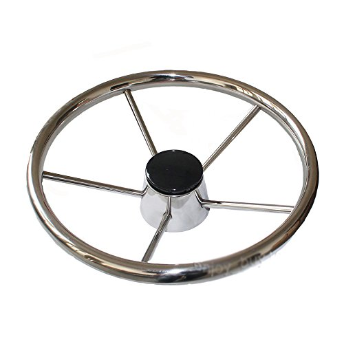 X-Haibei 13-1/2' Destroyer Style 5 Spoke Steering Wheel Stainless Steel for Marine Sport