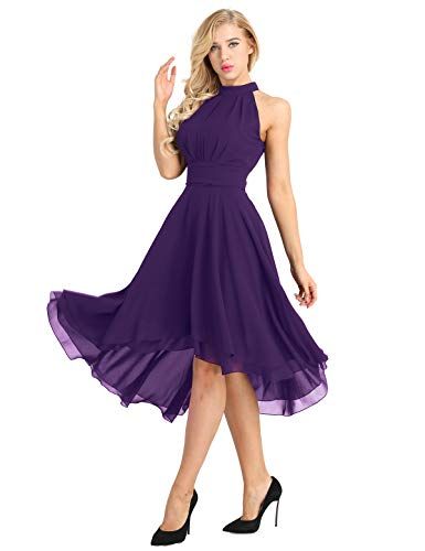 ACSUSS Women's Sleeveless Halter Neck Bridesmaid Dress High Low Evening Prom Flare Dresses Purple 14 ()