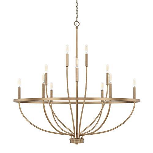 (Capital Lighting 428501AD Homeplace/Greyson - Twelve Light Chandelier, Aged Brass Finish)
