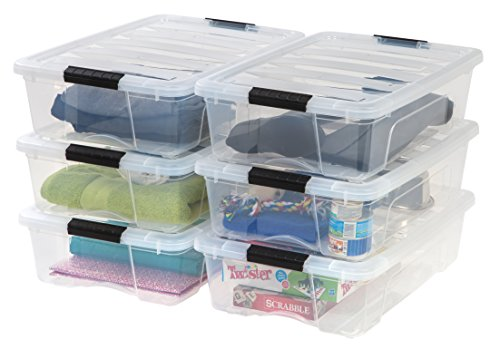 IRIS 26 Qt. Stack & Pull Plastic Storage Box, Clear- (Available in Case of 6)