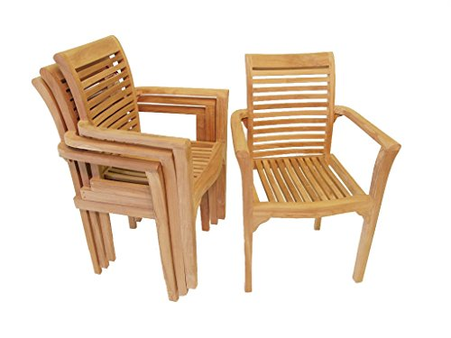 Windsor's Premium Grade A Teak Casablanca Stacking Arm Chair, Designer Look. Assembled .Packed and Priced 4 per Box, World's Best Outdoor Furniture! Teak Lasts A Lifetime! (Casablanca Chair)