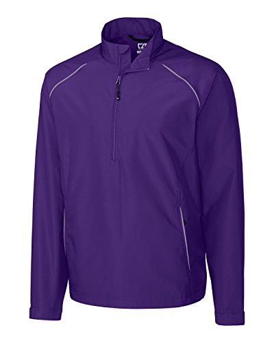 Wind College Jacket Pullover (Cutter & Buck Mens Cb Weathertec Beacon Half Zip Jacket, College Purple-XLT)