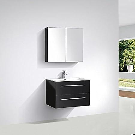 Meuble Salle De Bain Design Simple Vasque Siena Largeur 80 Cm Noir Laque Amazon Fr Cuisine Maison