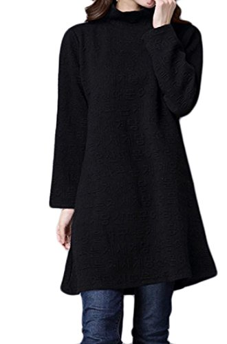 Line Solid Oversized A Comfy Pattern6 Pullover Dress High Neck Womens Quilted qRqf1g