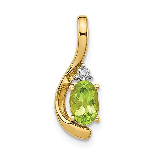14k Yellow Gold Diamond and Peridot Pendant
