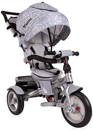 Lorelli Tricycle Neo 4 en 1 neumático, biela de empuje, asiento giratorio, ajustable, color:gris claro