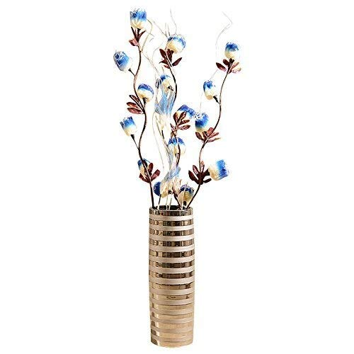 BEITAI Modern European Silver Jingdezhen Ceramic Vase,Decoration Ornament for Living Dinning Room Table Centerpiece Bedroom Office Hotel Home Decoration Hand-Painted Tall Flower Vases