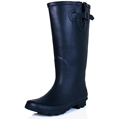 Spylovebuy KARLIE Flat Festival Wellies Wellington Knee High Rain Boots Navy Wide Calf