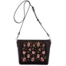 Alba Soboni Designed Women's PU Leather Zip Black Multicolour Casual Crossbody Bag