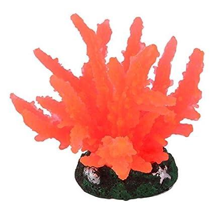 eDealMax peces de acuario tanque Artificial paisaje Coral Planta de agua Weed ornamento Naranja