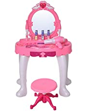 Qaba Children Dressing Table Set Girls Pretend Princess Vanity Table Chair with Music Lightening Cosmetic Mirror Hair Dryer Nail Polish Necklace Bracelet Pink